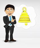 Golden bell in bubble idea concept — Stock Vector