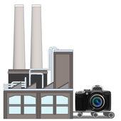 Новая камера на завод транспортного ремня — Cтоковый вектор