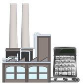 Calculator on factory transport belt — Stock Vector