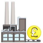 Pond munt op fabriek vervoer riem — Stockvector