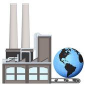 Amerika zeměkoule v továrně transportní pás — Stock vektor