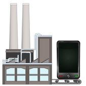 Smart phone on factory transport belt — Vector de stock