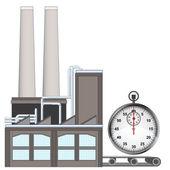 Stopwatch on factory transport belt — Stock Vector