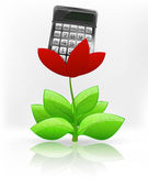 Calculator in red flower blossom — Stockvector