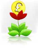 Pound coin in red flower blossom — Stock Vector