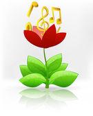 Zlatá music v květ červený květ — Stock vektor