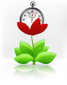 Stopwatch in red flower blossom — Stock Vector