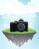 Camera shot on flying island — Stockvector