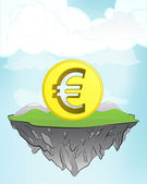 Euro coin on flying island — Stock Vector