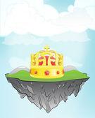 Royal crown on flying island — Stock Vector