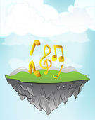 Golden music on flying island — Stock Vector