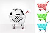 Football ball in shopping cart — Stock Vector