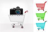 购物车中的新相机 — 图库矢量图片