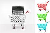 Calculator in shopping cart — Stock Vector