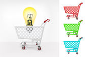 Yellow lightbulb in shopping cart — Stock Vector