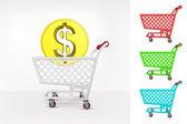 Dollar coin in shopping cart — Stock Vector