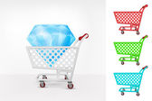 Blue diamond in shopping cart — Stock Vector