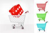 Lucky dice in shopping cart — Stock Vector