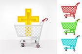 Golden cross in shopping cart — Stock Vector