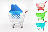 House icon in shopping cart — Stock Vector