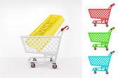 Golden bar in shopping cart — Stock Vector