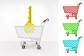 Golden key in shopping cart — Stock Vector