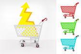 Lightning in shopping cart — Stock Vector