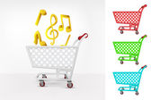 Music in shopping cart — Stock Vector