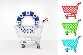 Poker chip in shopping cart — Stock Vector