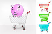 Happy pig in shopping cart — Stock Vector