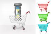 Sandglass in shopping cart — Stock Vector