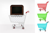 Television in shopping cart — Stock Vector