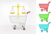 Trade weight in shopping cart — Stock Vector