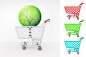 Leafy tree in shopping cart — Stock Vector