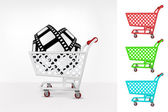 Movie tape in shopping cart — Stock Vector