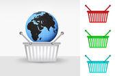 Africa world globe in shopping basket — Stock Vector