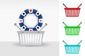 Poker chip in shopping basket — Stock Vector