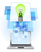 Green lightbulb in laptop — Vector de stock