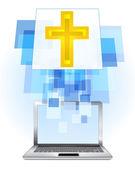 Cruz de ouro no laptop — Vetor de Stock