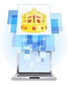 Royal crown in laptop — Stock Vector