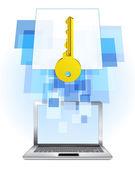 Golden key in laptop — Stock Vector