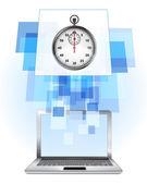 Stopwatch in laptop — Stock vektor