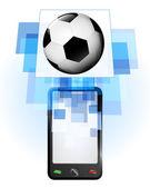 Football ball in mobile phone — Stock Vector