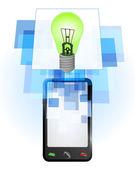 Green lightbulb in mobile phone — Stock Vector