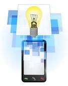 Yellow lightbulb in mobile phone — Stock Vector