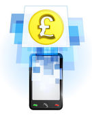 Pound coin in mobile phone — ストックベクタ