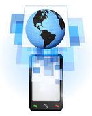 America world globe in mobile phone — Stock Vector
