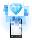 Blue diamond in mobile phone — Stock Vector