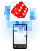 Lucky dice in mobile phone — Stock Vector