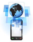 глобус мира африка в мобильном телефоне — Cтоковый вектор